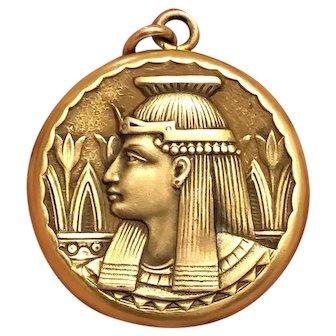 RARE C. 1920s Antique Art Nouveau Egyptian Revival Gold Filled Pharaoh Locket