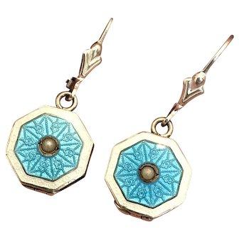Vintage Art Deco Sterling Silver Blue & White Guilloche LOCKET Earrings!