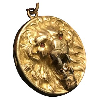 Unique Art Nouveau High Relief LION Locket with Silver Fangs & Red Eyes
