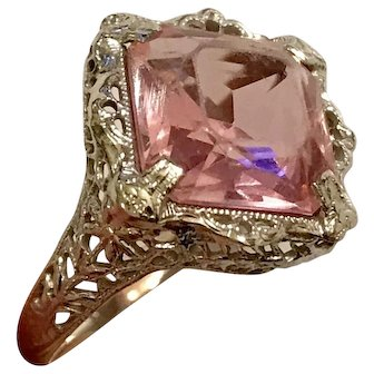 Antique Art Deco 10k White Gold Filagree Ring With Pink Stone