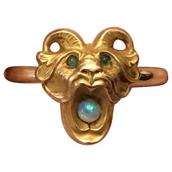 Art Nouveau 14K Gold Chimera Ring with Green Eyes & Mouth Clutching Opal