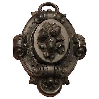 C. 1850s Antique Victorian Vulcanite Gutta Percha Acorn Oak Locket