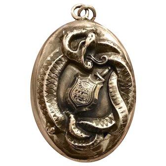 Antique William B. Kerr Snake Locket with Phi Delta Theta Center Mark