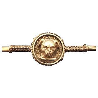 Victorian Etruscan Revival Rose & Yellow GF DOG Clamper Cuff Bracelet
