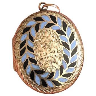 Antique Victorian Gold Filled Blue & Black Enamel Etched Locket