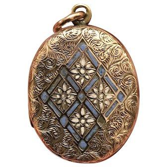 Antique Victorian Etched Light Blue Enamel Gold Filled Locket