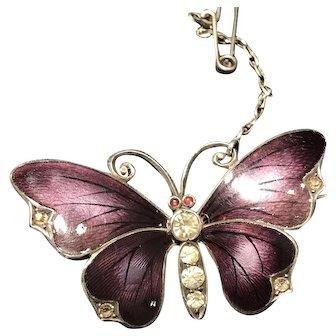 Stunning Victorian Antique Violet Guilloche Enamel Butterfly 935 Silver Brooch