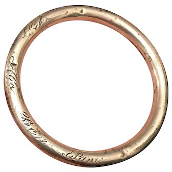 Unger Bros. Victorian Sterling Silver Love Token Bangle