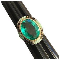 Antique Art Deco 14K White & Yellow Gold Filagree Enamel Simulated Emerald Ring