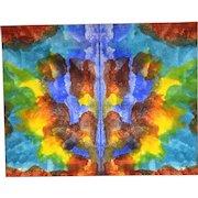 "H Wilson Smith Original Watercolor Ink Blot Rorschach ""The Blue Devil"" 11"" x 14"""