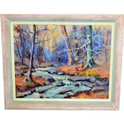 "Original George King Landscape Oil Painting Stream Signed & Dated 1946 24"" x 20"""