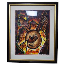 Chris Damola Original Oil on Canvas Painting Banjo Player African American Art