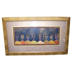 """Diana Shannon Young Mixed Media Signed Original Embellished Painting 33.75""""x20"""" African American Art"""