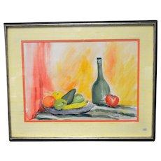 Vintage Mid Century Modern Still Life Original Watercolor Painting Signed