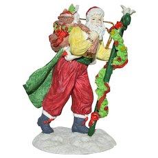 Vintage Silvestri Santa w/Cape, Sack, Staff Super Detailed Christmas Ornament