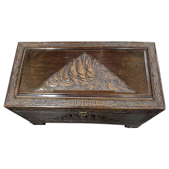 Beautiful Vintage Hand Carved Chinese Camphor Wood Chest Nautical Theme