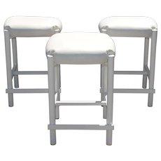 3 Milo Baughman Style Mid Century Modern White Naugahyde Bar/Counter Stools