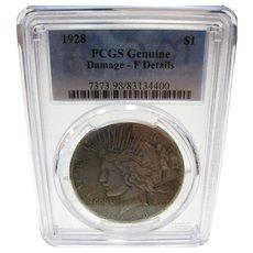 1928 U.S. Peace Dollar PCGS Fine Details Rare Key Date