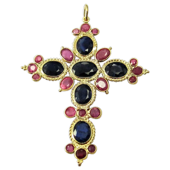 Vintage 18K Yellow Gold Cross Pendant Set with 3+ Carats of Strawberry Pink & Blue Sapphires