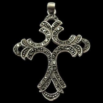 Vintage Sterling Silver & Marcasite Cross Pendant