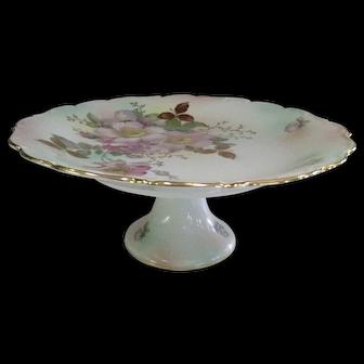 Schumann Bavaria Wild Rose Pattern Pedestal Cake Plate
