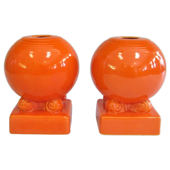 Fiesta Original Red Bulb Style Pair of Candle Holders 1936 - 1944