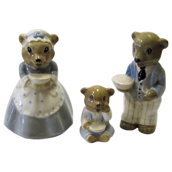 Wade 1950s Nursery Rhymes Set 3 Bears Papa, Mama & Baby Near Mint