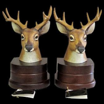 Andrea By Sadek Deer with Full Rack Porcelain & Wood Bookends