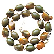 Large Marbled Bakelite Beads Necklace