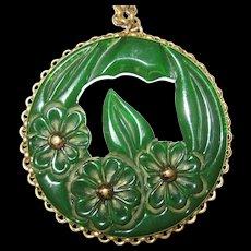 RESERVED for Myra -- Translucent Green Bakelite Floral Carved Pendant