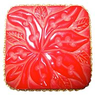Large Red Floral Carved Bakelite Pin Brooch