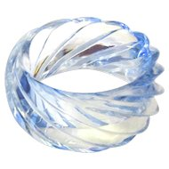 Huge Vintage Pale Blue Transparent Plastic Swirl Bangle West Germany