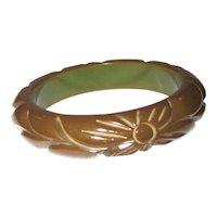 Olive Green Carved Bakelite Bangle Bracelet