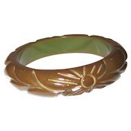 Olive Green Carved Bakelite Bangle Bracelet
