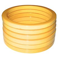 Set of Six Cream Bakelite Sliced Spacer Bangle Bracelets