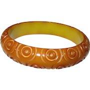 Bulls-eye Carved Bakelite Bangle Bracelet