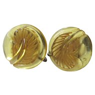 Apple Juice Bakelite Screw-back Earrings with Feather Carving