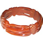 Delicate Pierced and Carved Bakelite Bangle Bracelet