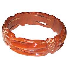 Delicate Pierced and Carved Bakelite Bangle Bracelet