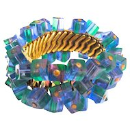 Vintage Expansion Bracelet Blue Green Purple 1960s Best Plastics Large Size
