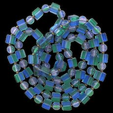 Long Blue, Purple, and Green Vintage Lucite Cube Bead Necklace 1960s Best Plastics - Red Tag Sale Item