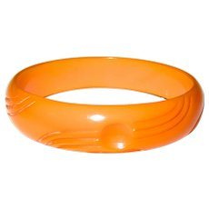 Orange Carved Bakelite Bangle Bracelet
