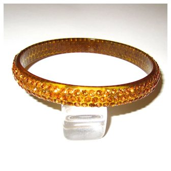Topaz-Colored Celluloid Rhinestone Sparkle Bangle Bracelet
