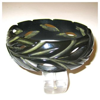 Very Dark Green Carved and Pierced Bakelite Bangle Bracelet