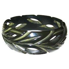 Very Dark Green Carved and Pierced Bakelite Bangle Bracelet