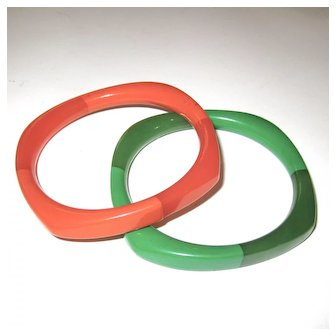 Pair of Two-Toned Bakelite Bangle Bracelets -- Rounded Square Shape