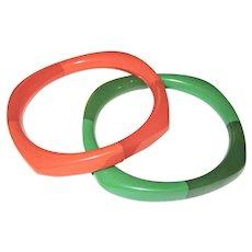Pair of Two-Toned Bakelite Bangle Bracelets -- Rounded Square Shape