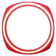 Red and White Rounded Square Bangle Bracelet Lucite Plastic