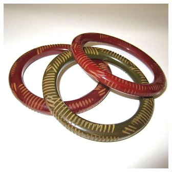 Set of Three Resin Washed Carved Bakelite Tube Bangle Bracelets