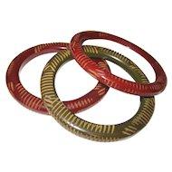 Set of Three Resin Washed Carved Bakelite Tube Bangle Bracelets